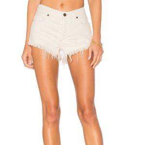 Free People Raw Hem Jean Shorts off White 25
